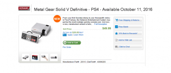 Dell's Listing Leaks Metal Gear Solid V: Definitive Edition's Release Date 2