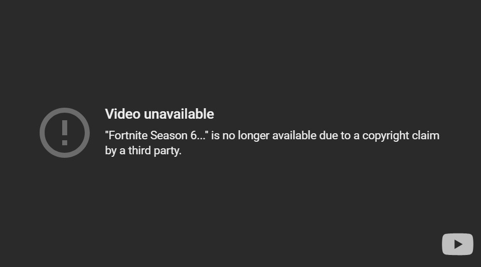 Fortnite's Official YouTube Channel Hit By Copyright Strikes - Season 6 Trailers Taken Down 6