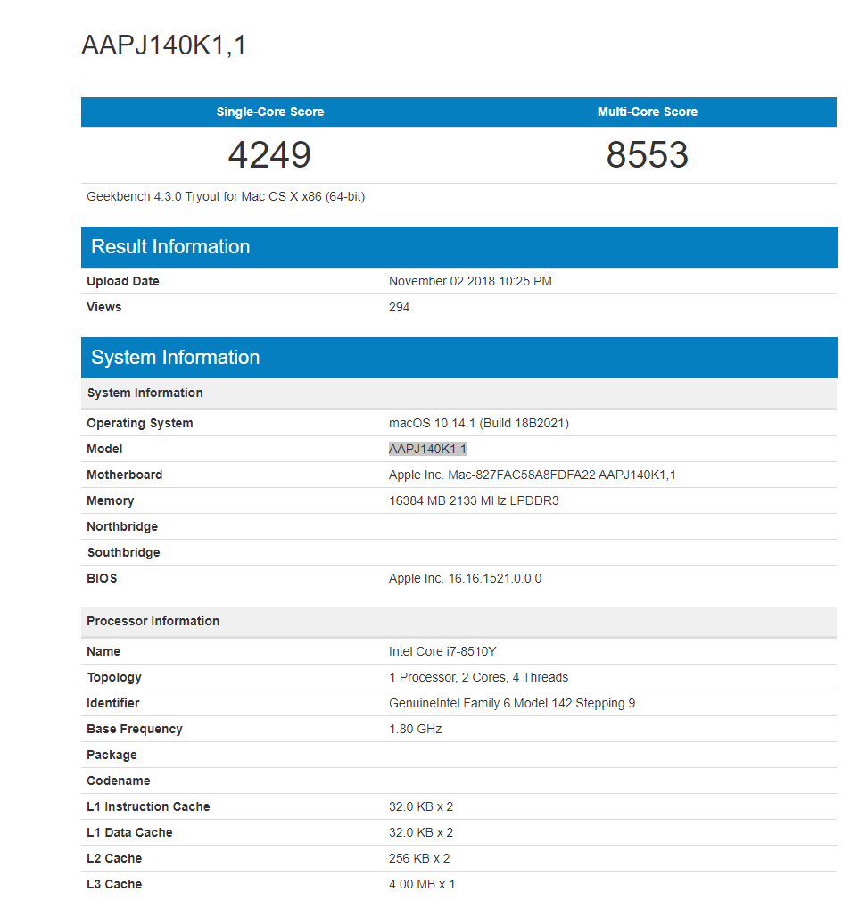 Apple MacBook Air 2018 with 8th-Gen Intel Core i7 Spotted on Geekbench - Other Specs Also Leaked