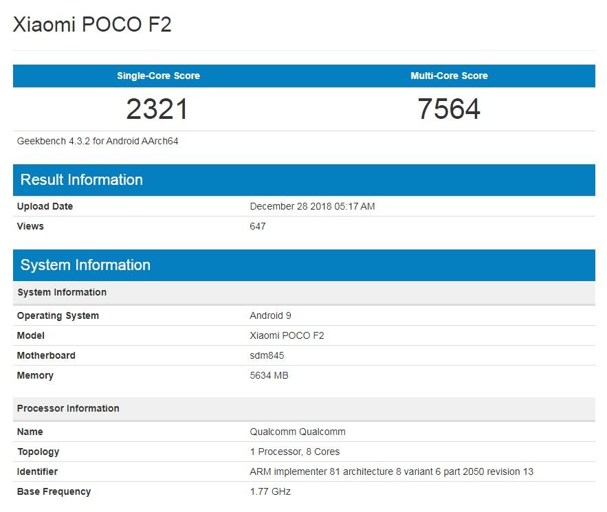 Xiaomi Poco F2 Geekbench Benchmarks Leaked - Snapdragon 845, 6GB RAM & More 4