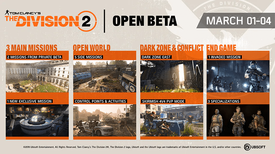 Tom Clancy's The Division 2: Open Beta Details Revealed. 2