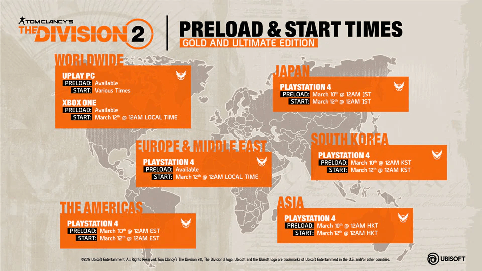 The Division 2 Launch - Storage Requirements, Preload & Start Times 10