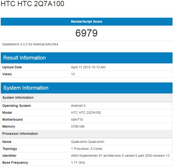 New HTC Device Featuring Snapdragon 710 SoC & 6GB RAM Leaked - Dubbed as the HTC 2Q7A100 4