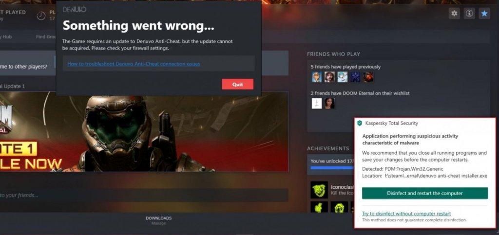 Kaspersky Labels Denuvo As Malware After Latest Doom Eternal Update 4